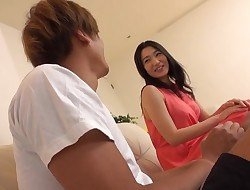 Japanese broads gets unshaved snatch pounded with huge fuckpole