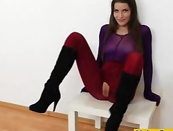 Brunette covered in nylons drains in addition to hump plaything