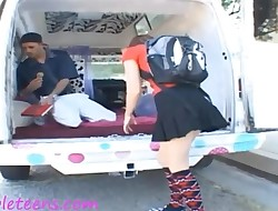 icecream truck teen schoolgirl in knee high socks gets half
