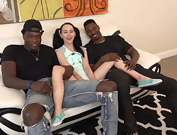Little Teenager Destroyed by Two Giant Black Men