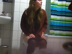 Girl on Toilet with Big Pussy Lips at  Party