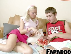 Slim Blondie Watermelon Eating Foreplay